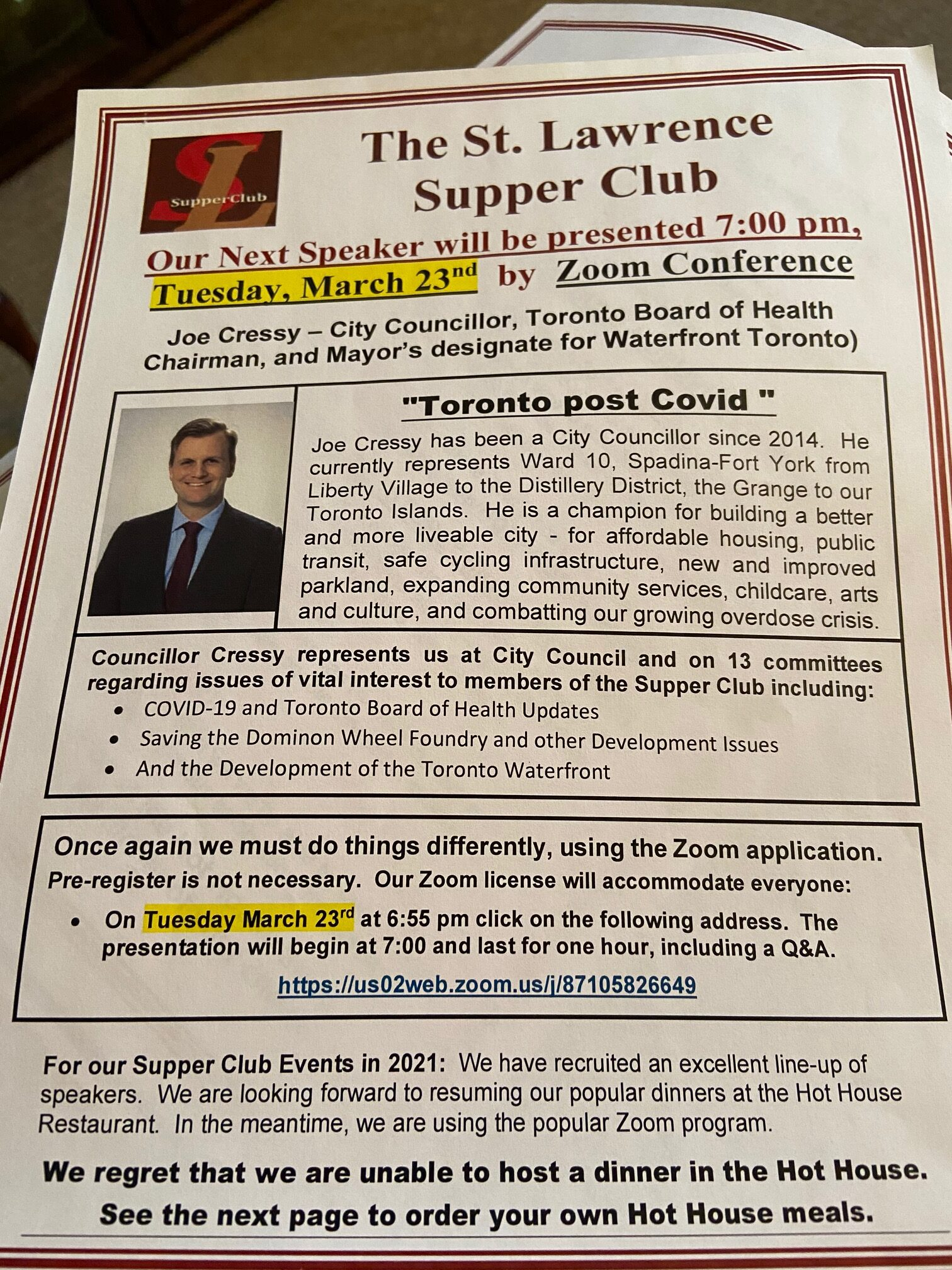 Joe Cressy scheduled to address a Q/A session with the St. Lawrence Supper Club on Tuesday, March 23, 7 pm.